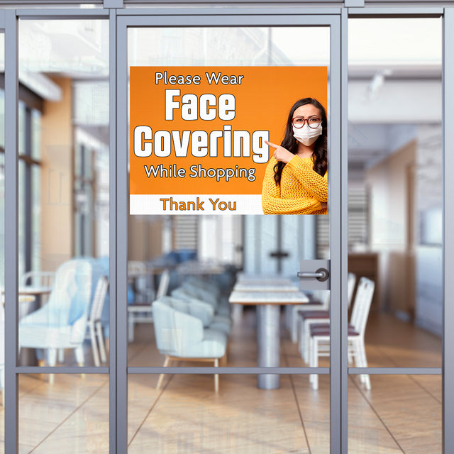 "Please Wear Face Covering While Shopping (32"" x 24"") Perforated Removable Window Decal"