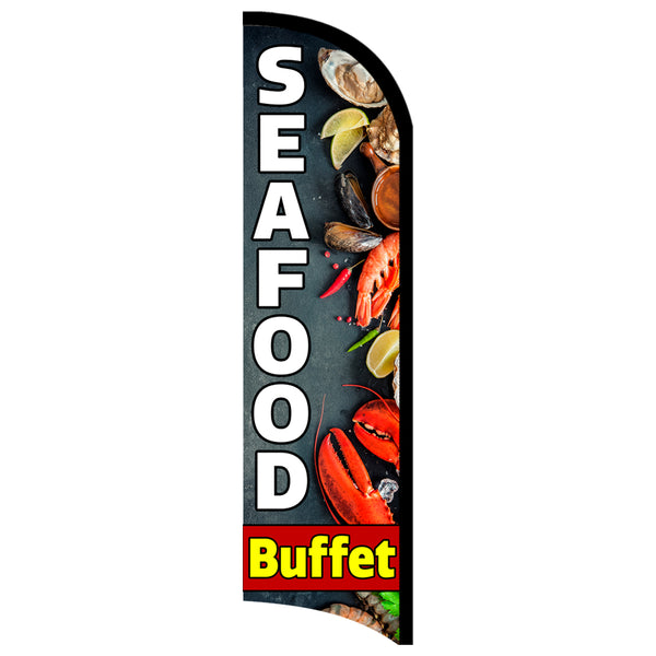 Seafood Buffet Premium Windless-Style Feather Flag Bundle 14' OR Replacement Flag Only 11.5'