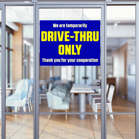 "Drive-Thru Only (32"" x 24"") Perforated Removable Window Decal"