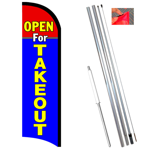 Open For Takeout Premium Windless-Style Feather Flag Bundle 14' OR Replacement Flag Only 11.5'
