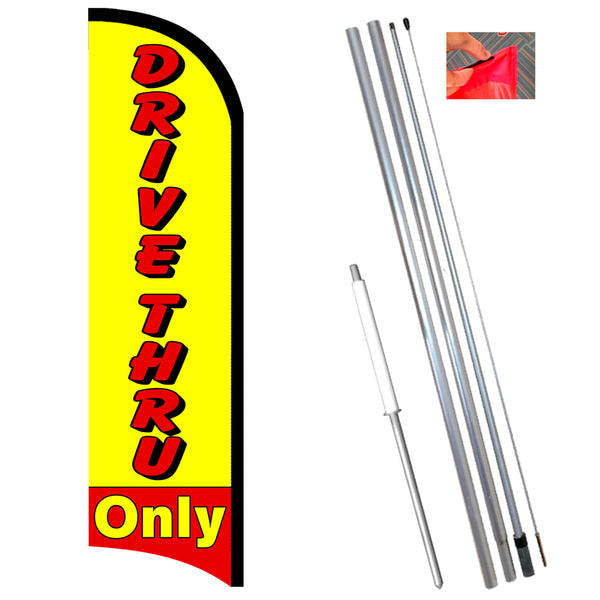 Drive Thru Only Premium Windless-Style Feather Flag Bundle 14' OR Replacement Flag Only 11.5'