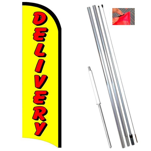 Delivery Premium Windless-Style Feather Flag Bundle 14' OR Replacement Flag Only 11.5'