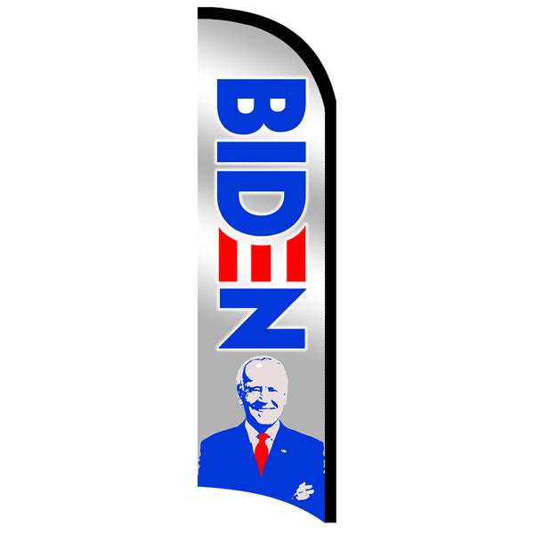 Joe Biden Premium Windless-Style Feather Flag Bundle 14' OR Replacement Flag Only 11.5'