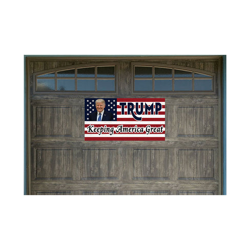 "US Flag & Trump Vintage Wood Look 21"" x 40"" Magnetic Garage Banner For Steel Garage Doors Keeping America Great"