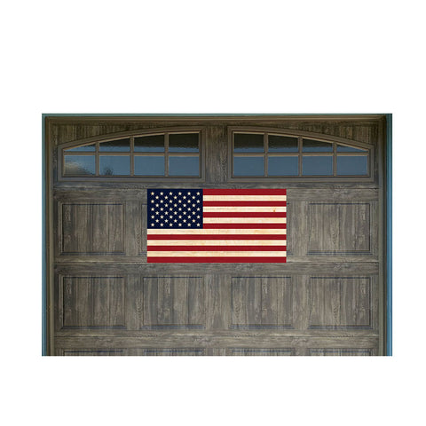 "US Flag Wood Look 21"" x 40"" Magnetic Garage Banner For Steel Garage Doors"