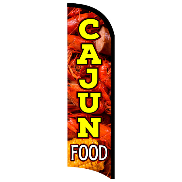 Cajun Food Premium Windless-Style Feather Flag Bundle 14' OR Replacement Flag Only 11.5'