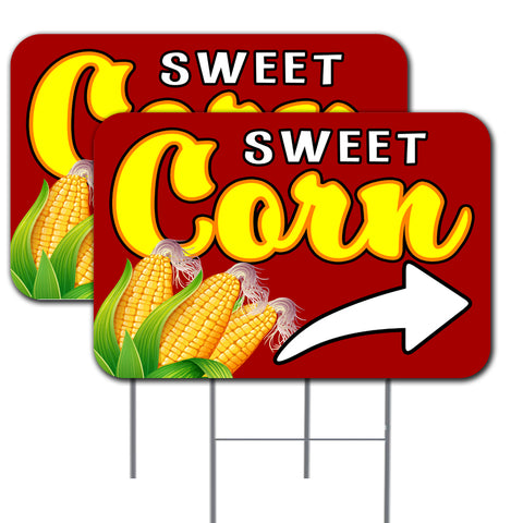 "Sweet Corn Arrow  2 Pack Double-Sided Yard Signs 16"" x 24"" with Metal Stakes (Made in the USA)"
