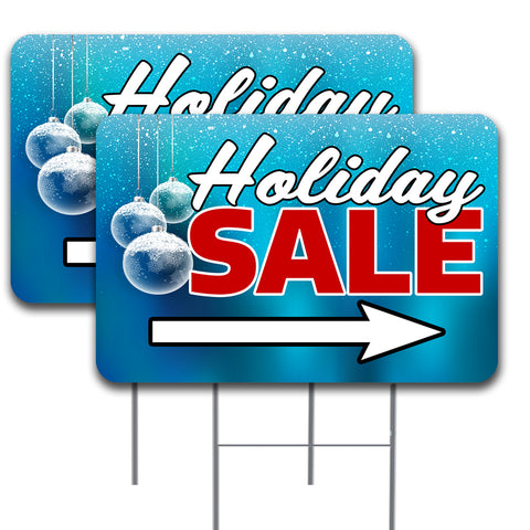 "Holiday Sale Arrow 2 Pack Double-Sided Yard Signs 16"" x 24"" with Metal Stakes (Made in the USA)"