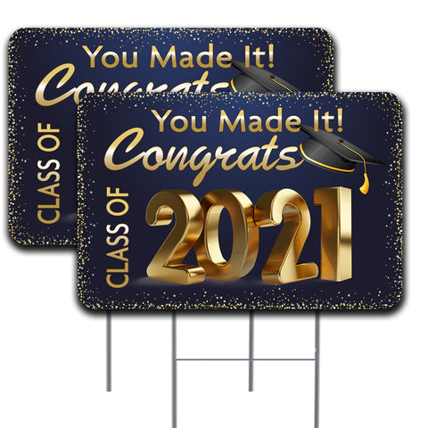 "Congratulations Class of 2021 2 Pack Double-Sided Yard Signs 16"" x 24"" with Metal Stakes (Made in the USA)"