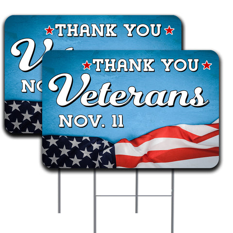 Thank You Veterans Two Pack 16x24 Inch Double-Sided Yard Sign With Metal Stakes (Made in the USA)