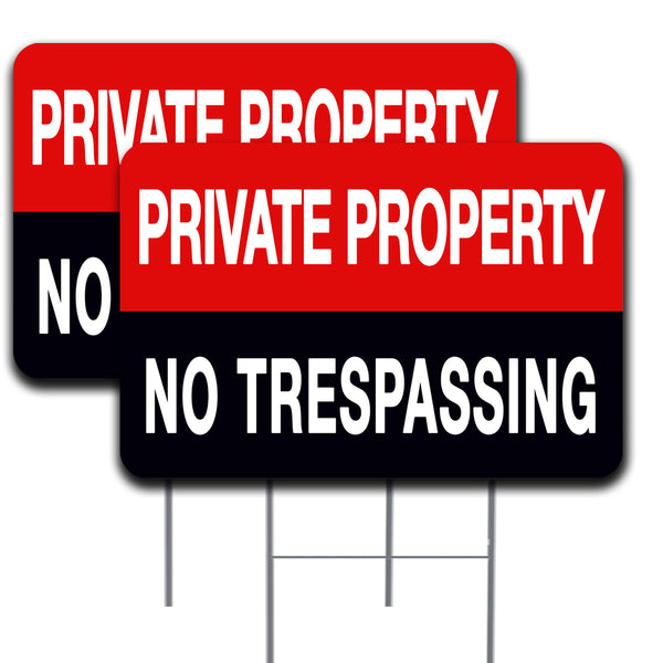 "Private Property No Tresspassing 2 Pack Yard Sign - Each is 24"" x 16"" and come with Metal Stake - Set 2"