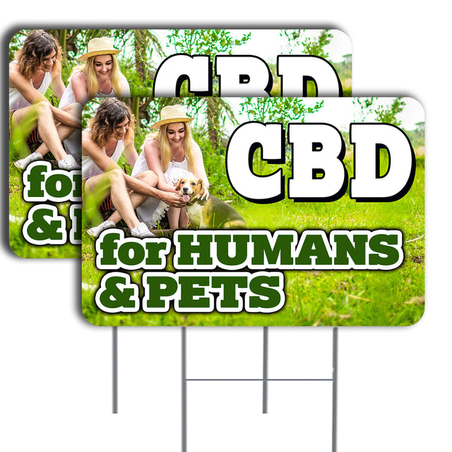 "CBD for HUMANS & PETS 2 Pack Double-Sided Yard Signs 16"" x 24"" with Metal Stakes (Made in the USA)"