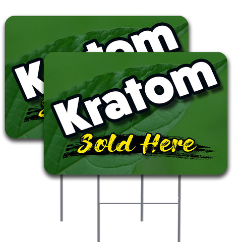 "KRATOM SOLD HERE  2 Pack Double-Sided Yard Signs 16"" x 24"" with Metal Stakes (Made in the USA)"