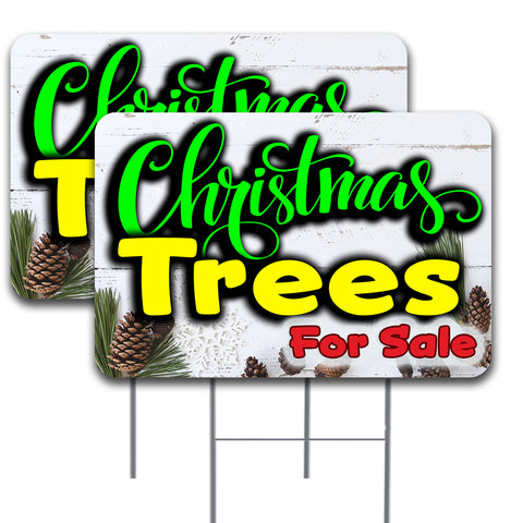 "Christmas Trees 2 Pack Double-Sided Yard Signs 16"" x 24"" with Metal Stakes (Made in the USA)"