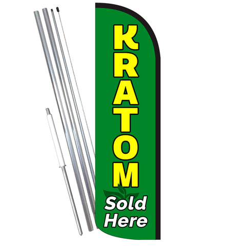 KRATOM Sold Here Windless-Style Feather Flag Bundle 14' OR Replacement Flag Only 11.5'