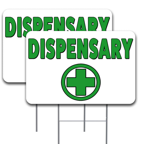 "DISPENSARY 2 Pack Double-Sided Yard Signs 16"" x 24"" with Metal Stakes (Made in the USA)"