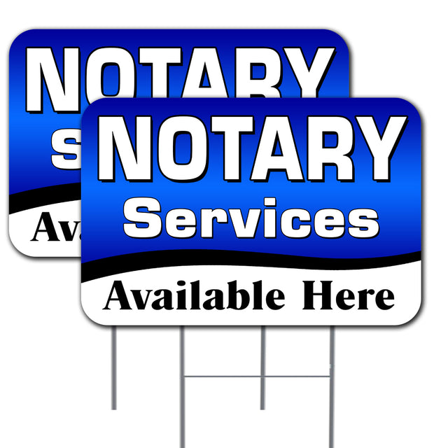 "NOTARY Services Available Here 2 Pack Double-Sided Yard Signs 16"" x 24"" with Metal Stakes (Made in the USA)"