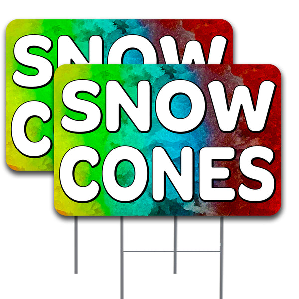 "SNOW CONES 2 Pack Double-Sided Yard Signs 16"" x 24"" with Metal Stakes (Made in the USA)"