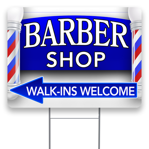BARBER SHOP (Arrow) 18x24 Inch Sign With Display Options