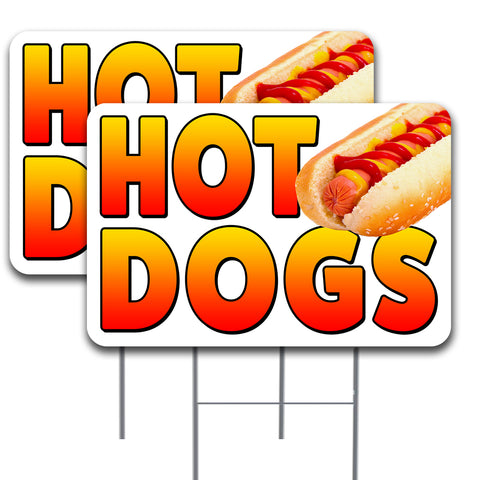HOT DOGS Two Pack 16x24 Inch Double-Sided Yard Signs Made in the USA