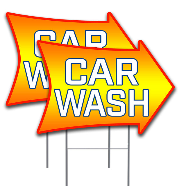 CAR WASH (Arrow) 16x24 Inch Sign Two Pack (Double-Sided) Made in the USA