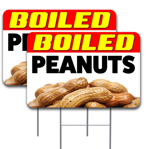 BOILED PEANUTS Two Pack 16x24 Inch Double-Sided Yard Signs with Metal Stakes (Made in the USA)