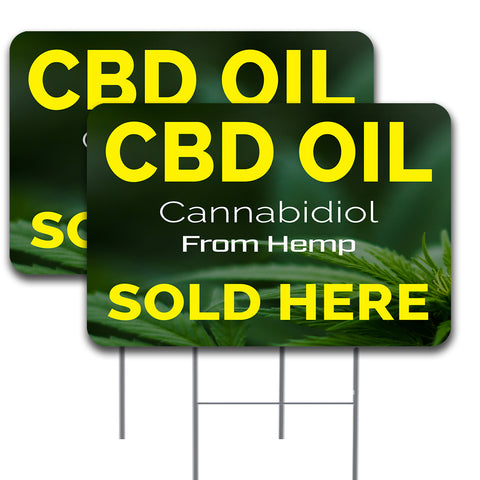 "CBD OIL SOLD HERE 2 Pack Double-Sided Yard Signs 16"" x 24"" with Metal Stakes (Made in the USA)"