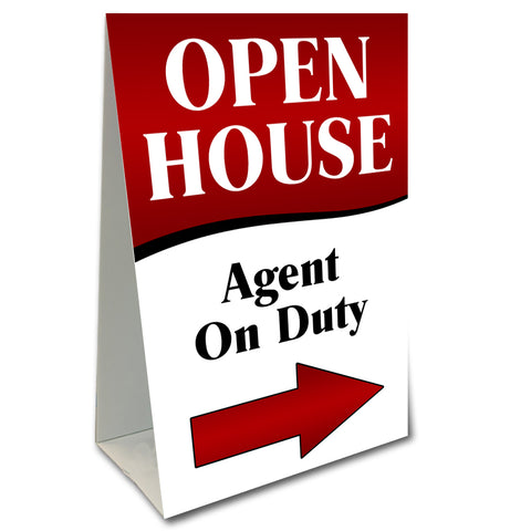 Open House Agent On Duty Arrow Economy A-Frame Sign