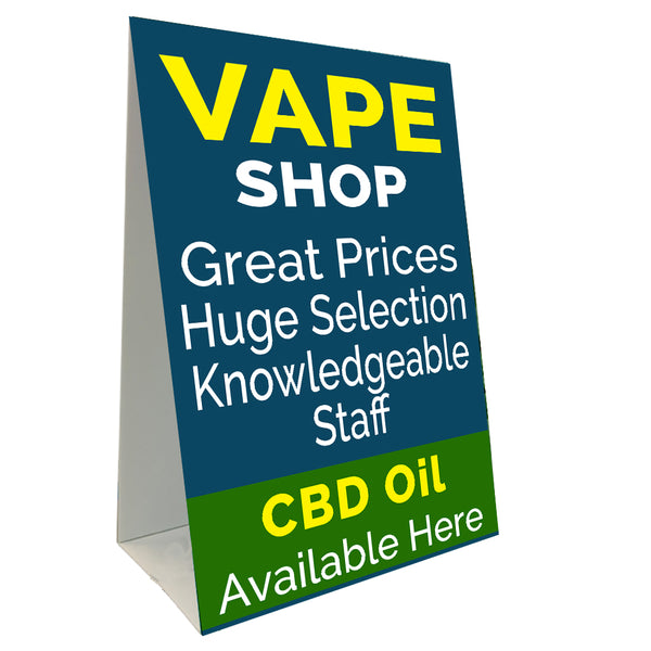 "Vape Shop CBD Oil Economy A-Frame Sign (Size Options) 24"" wide by 36"" tall (Made in the USA)"