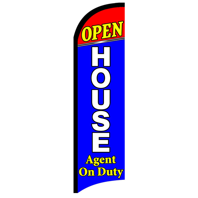 OPEN HOUSE Agent On Duty Premium Windless Polyknit Feather Flag with Bundle Option (11 x 3 Feet)
