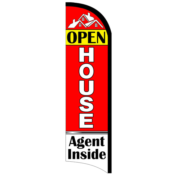 Open House Agent Inside Premium Windless-Style Feather Flag Bundle 14' OR Replacement Flag Only 11.5'