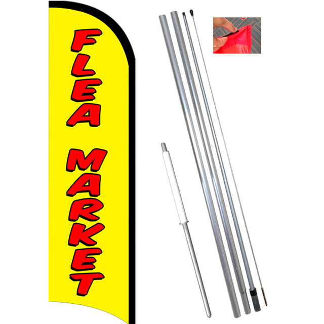 FLEA MARKET Windless Feather Banner Flag Kit (Flag, Pole, & Ground Mt)