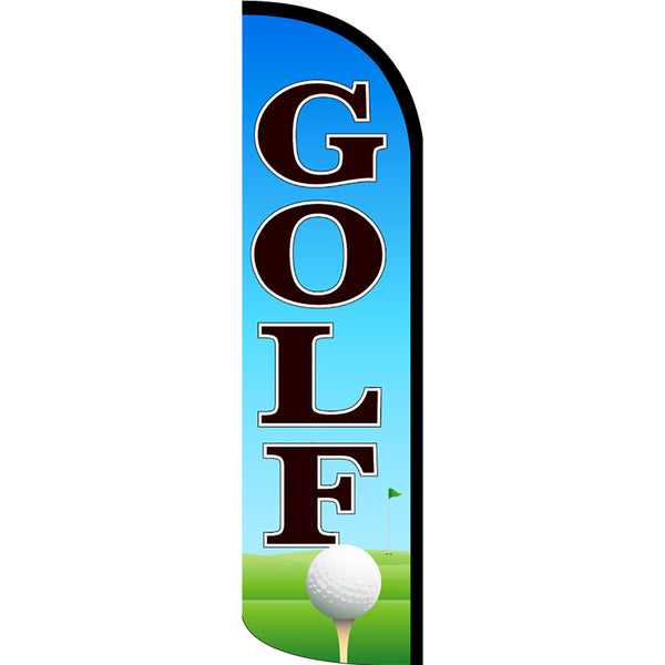Golf Windless Polyknit Feather Flag with Bundle Option (3 x 11.5 Feet)