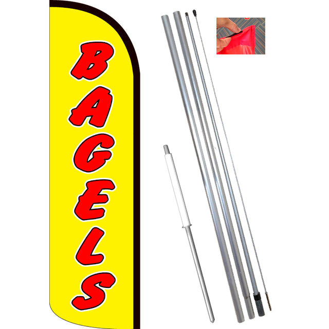 BAGELS Windless Feather Banner Flag Kit (Flag, Pole, & Ground Mt)