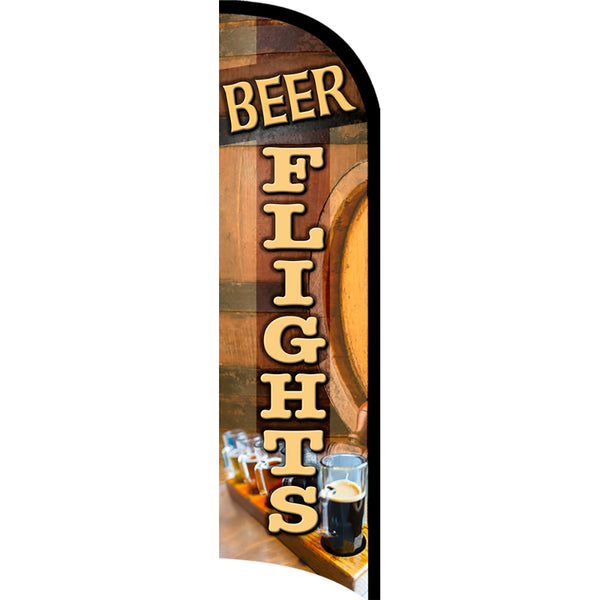 BEER FLIGHTS Premium Windless  Polyknit Feather Flag with Bundle Option (11 x 3 Feet)