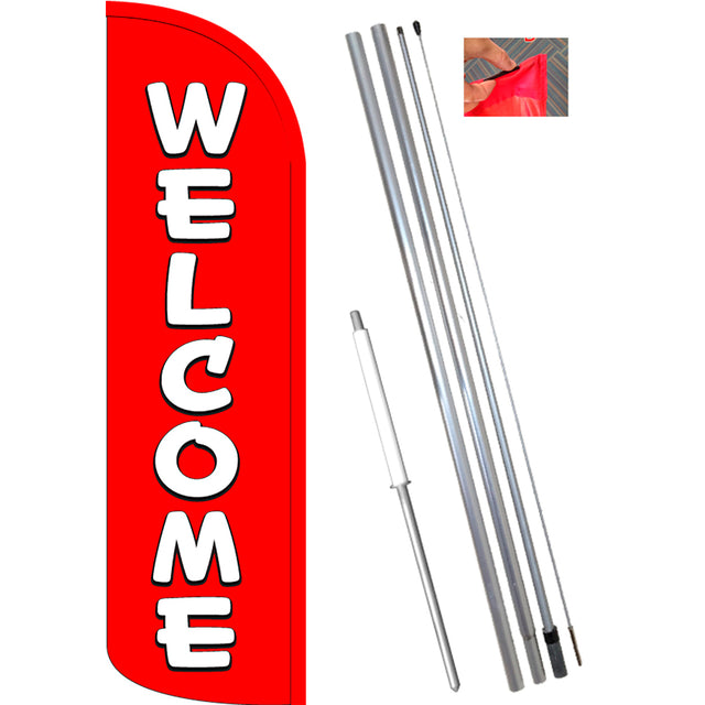 WELCOME (Red/White) Windless Feather Banner Flag Kit (Flag, Pole, & Ground Mt)
