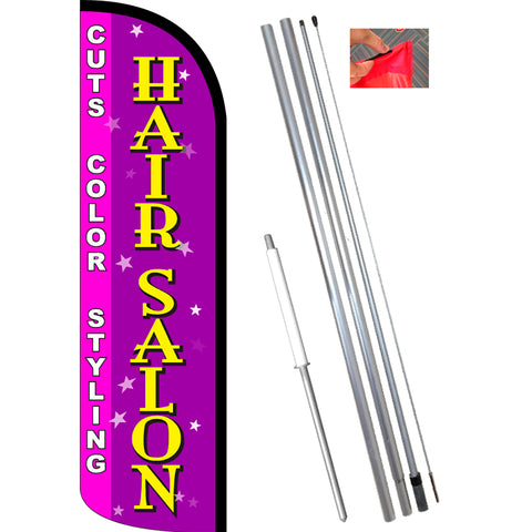 Hair Salon (Cuts, Color, Styling) Windless Feather Banner Flag Kit (Flag, Pole, & Ground Mt)