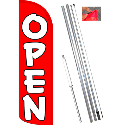 OPEN (Red/White) Windless Feather Banner Flag Kit (Flag, Pole, & Ground Mt)