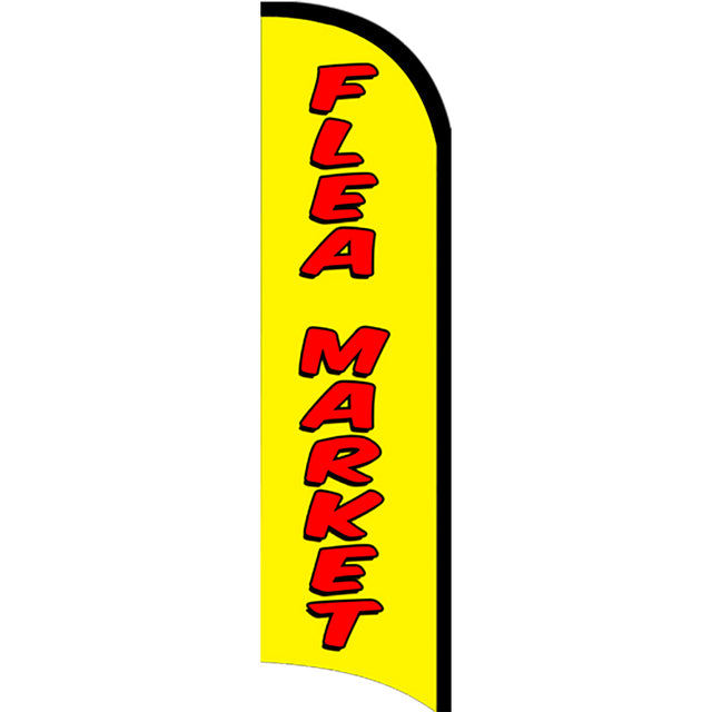 Flea Market Windless Polyknit Feather Flag with Bundle Option (3 x 11.5 Feet)