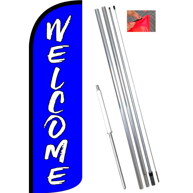 Welcome (Blue) Windless Feather Banner Flag Kit (Flag, Pole, & Ground Mt)
