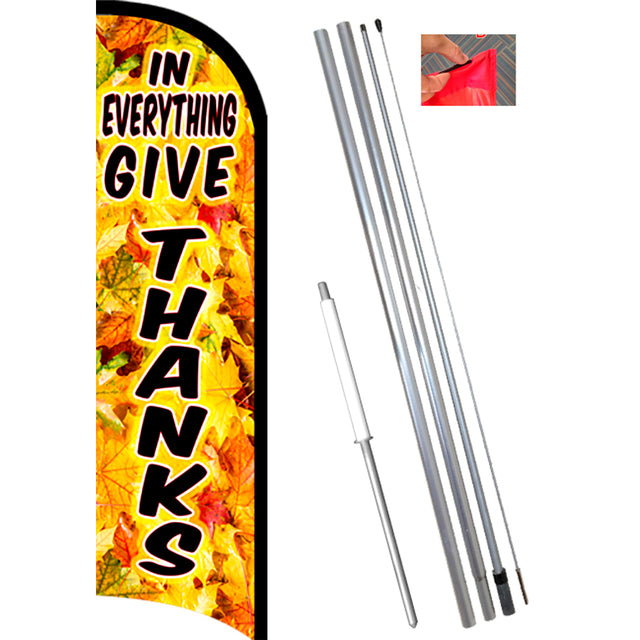 GIVE THANKS Premium Windless Feather Banner Flag Kit (Flag, Pole, & Ground Mt)