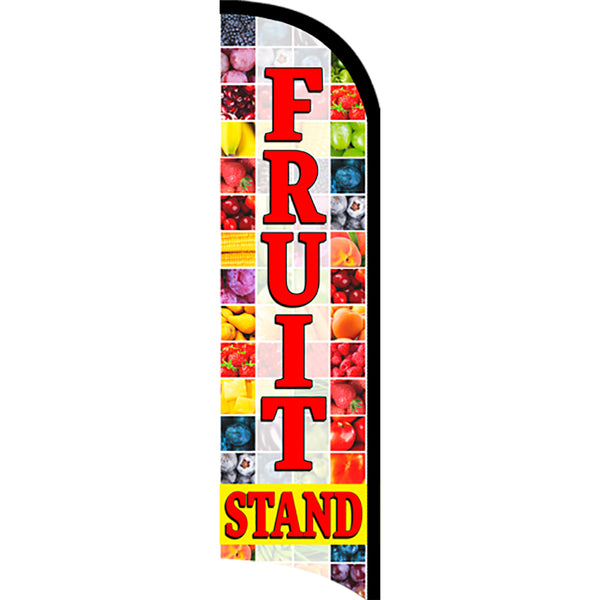 Fruit Stand Windless Polyknit Feather Flag with Bundle Option (3 x 11.5 Feet)