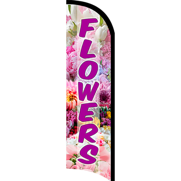 Flowers Premium Windless  Polyknit Feather Flag with Bundle Option (11 x 3 Feet)