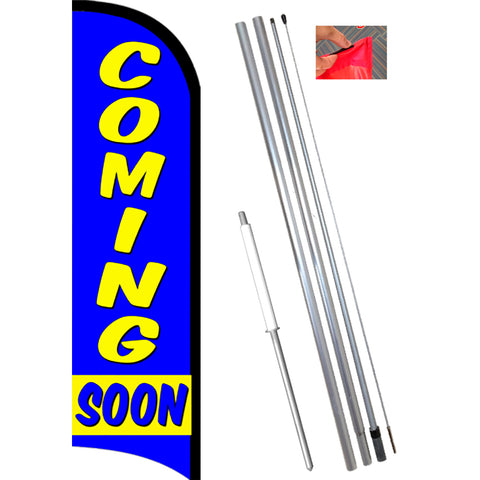 Coming Soon Windless Feather Banner Flag Kit (Flag, Pole, & Ground Mt)