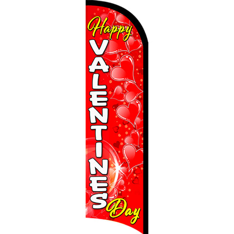 Happy Valentine's Day Premium Windless  Polyknit Feather Flag with Bundle Option (11 x 3 Feet)