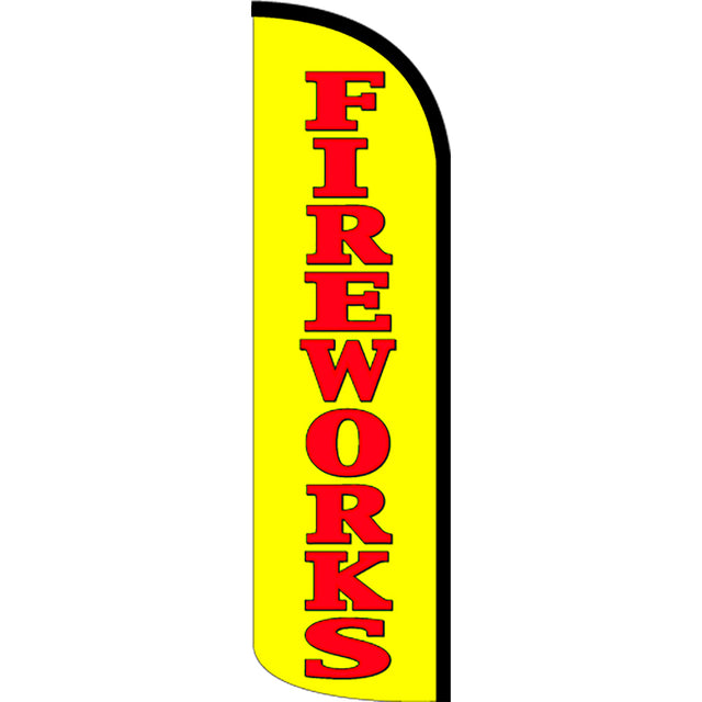 Fireworks Windless Feather Banner Flag with Bundle Option (2.5 x 11.5 Feet)