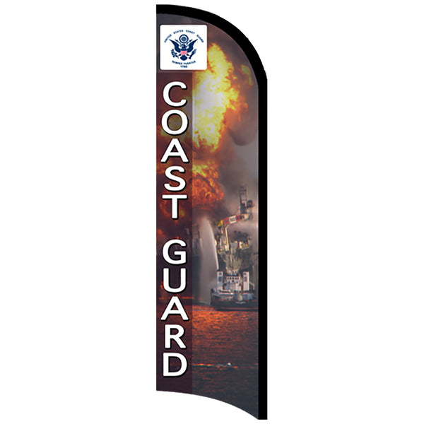 COAST GUARD Premium Windless  Polyknit Feather Flag with Bundle Option (11 x 3 Feet)