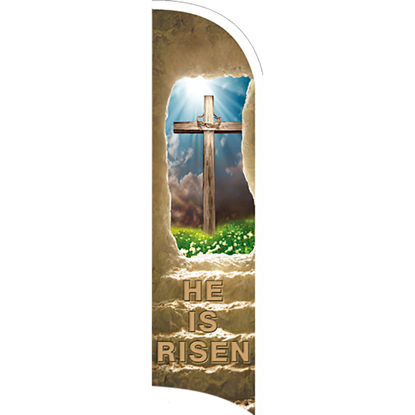 EASTER He Is Risen Premium Windless  Polyknit Feather Flag with Bundle Option (11 x 3 Feet)