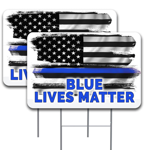 "Blue Lives Matter 2 Pack Double-Sided Yard Signs 16"" x 24"" with Metal Stakes (Made in the USA)"