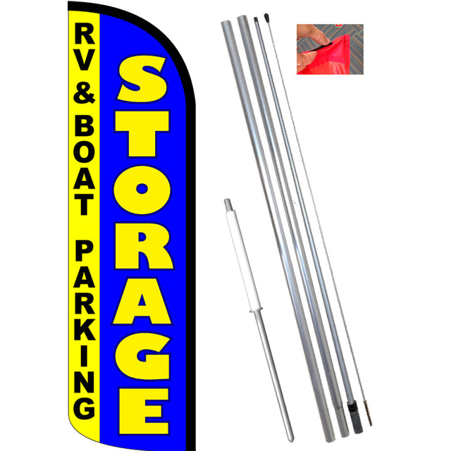 STORAGE - RV Boat Parking Windless Feather Banner Flag Kit (Flag, Pole, & Ground Mt)